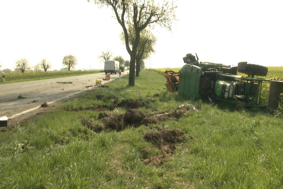 Die Staatsstraße 4 zwischen Eilenburg und Krostitz musste bis zum Mittag voll gesperrt werden.