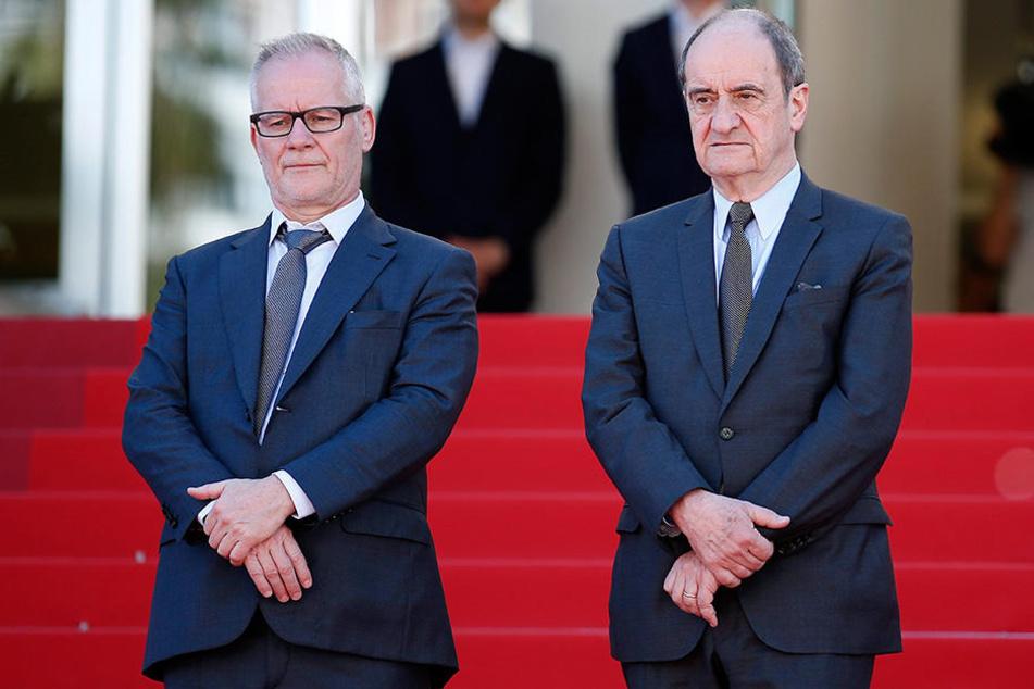 Thierry Fremaux (li), Filmregisseur und künstlerischer Leiter der Filmfestspiele in Cannes, und Pierre Lescure, Präsident der Internationalen Filmfestspiele in Cannes.