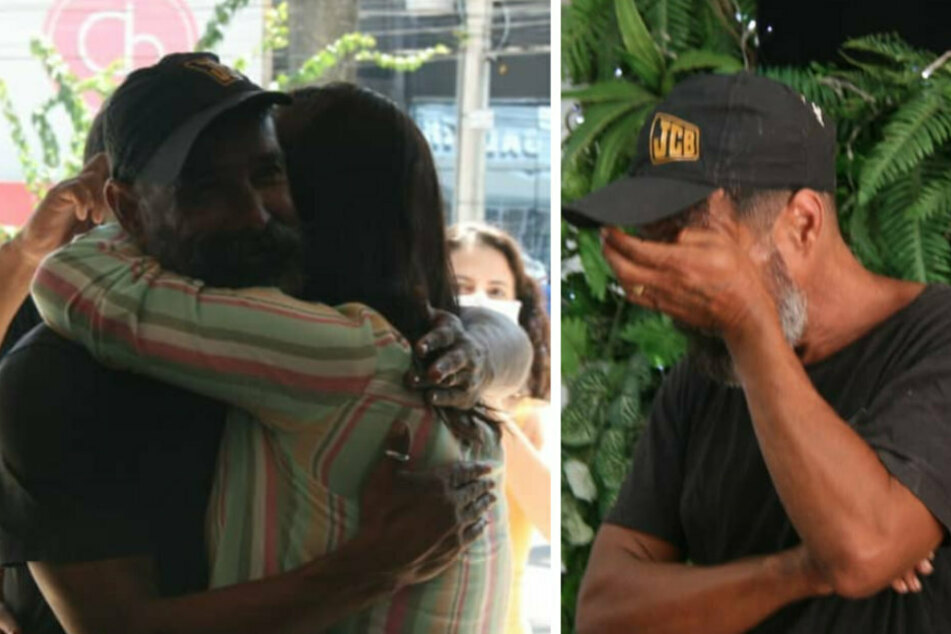 The viral pictures reached his sister (l). Their reunion moves João Coelho to tears.