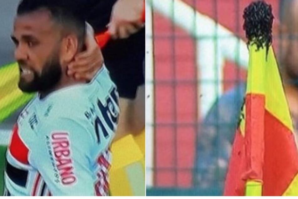 Irres Spiel: Hier kämpft Dani Alves mit seinem Gegner, doch es ist kein Fußballer!