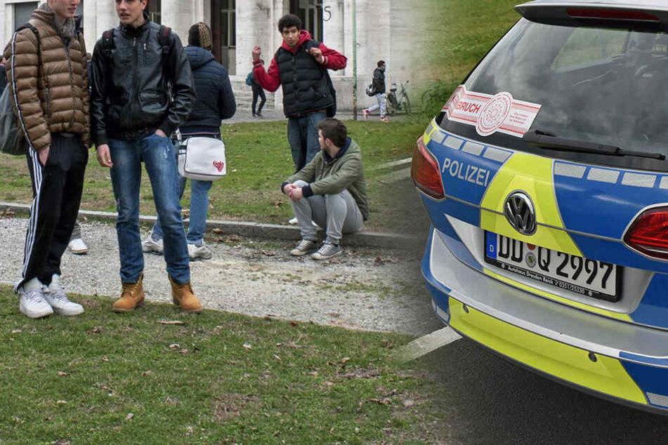 Am Dienstagmittag musste die Polizei zu der Görlitzer Berufsschule ausrücken. (Montage)