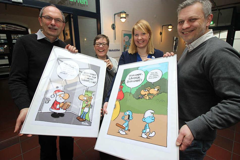 Präsentieren die Ruthe-Cartoons: Klaus Rees, Friederike Vogt, Wiebke Esdar und Michael Gugat (v.l.).