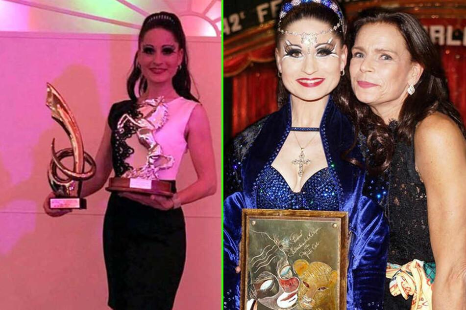 Stolz präsentiert Carmen Zander ihre Preise. Eine der Auszeichnungen ist eine persönliche Ehrung von Festival-Präsidentin Prinzessin Stéphanie (r.).