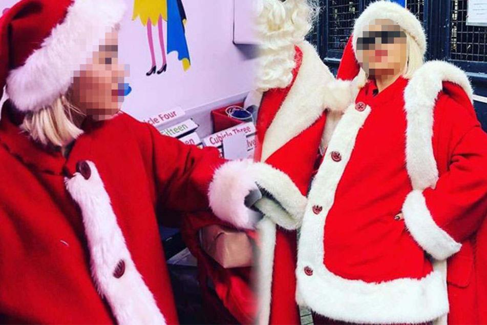Welche Sängerin hat sich denn hier als dicker Weihnachtsmann verkleidet?