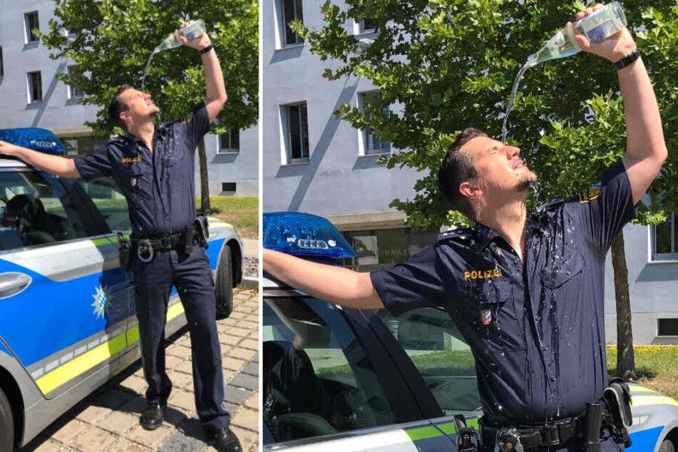 """So heiß: Polizist begeistert das Netz bei """"Bullenhitze"""""""