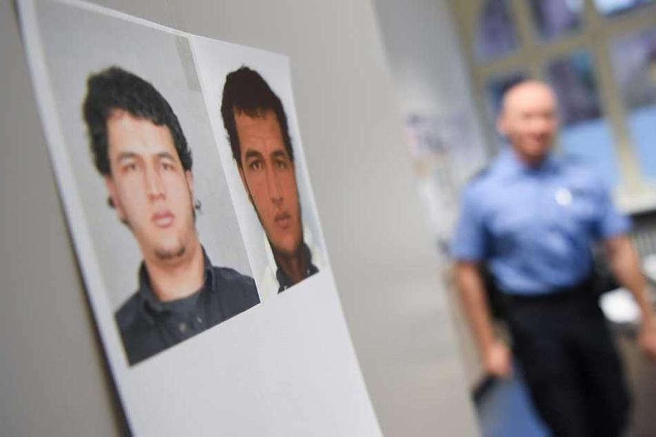 Fahnungsfotos des nach dem Anschlag gesuchten Anis Amri hängen in einer Polizeiwache.