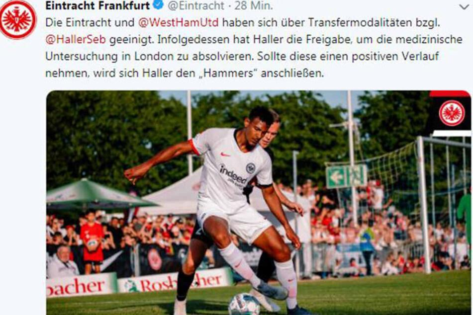 Via Twitter verkündet Eintracht Frankfurt die Einigung mit den Hammers.