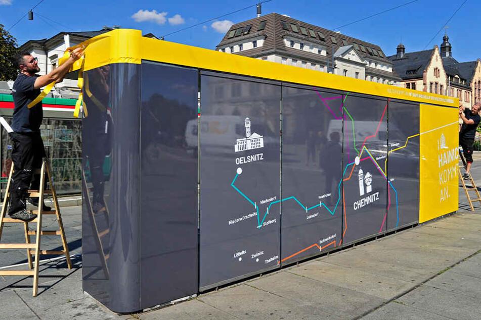 Chemnitz: Alles neu auf dem Bahnhofsvorplatz: Haltestellen treiben's jetzt bunt