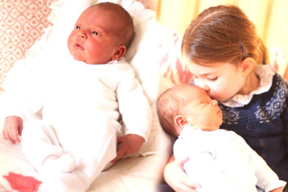 Der britische Thronfolger Prinz Louis, gerade erst auf die Welt gekommen. Rechts sieht man das Baby mit Prinzessin Charlotte.