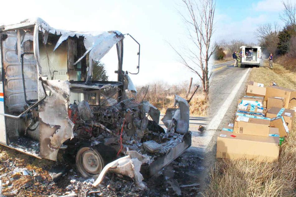 Postbote rettet Weihnachtsgeschenke aus brennendem Lkw