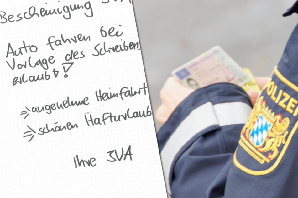 """Die Polizei in Unterfranken zeigte ein Muster des """"modifizierten Schreibens"""", welches der Schwarzfahrer mit sich führte (Symbolbild)."""