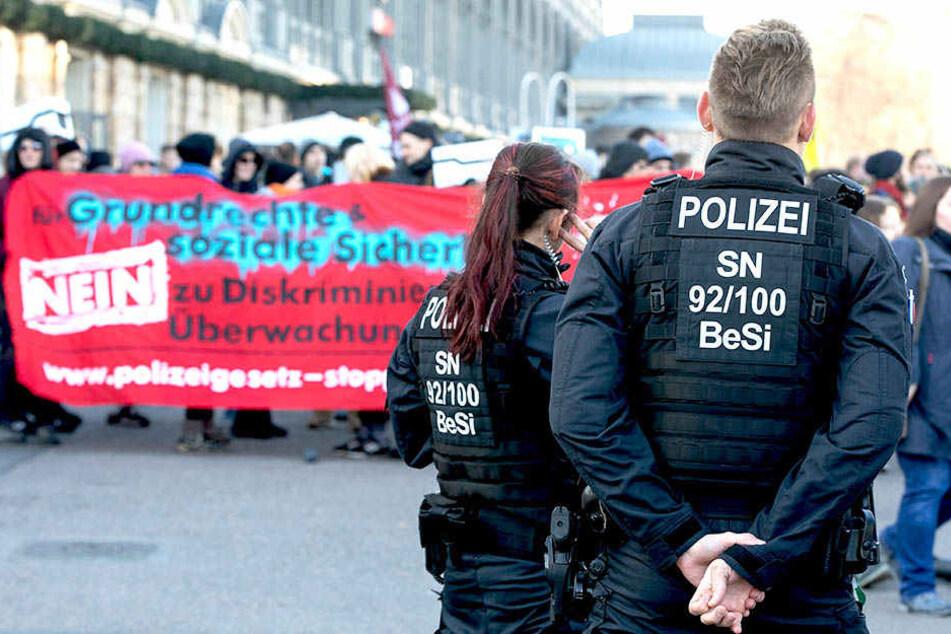 Proteste gegen neues Polizeigesetz in Dresden
