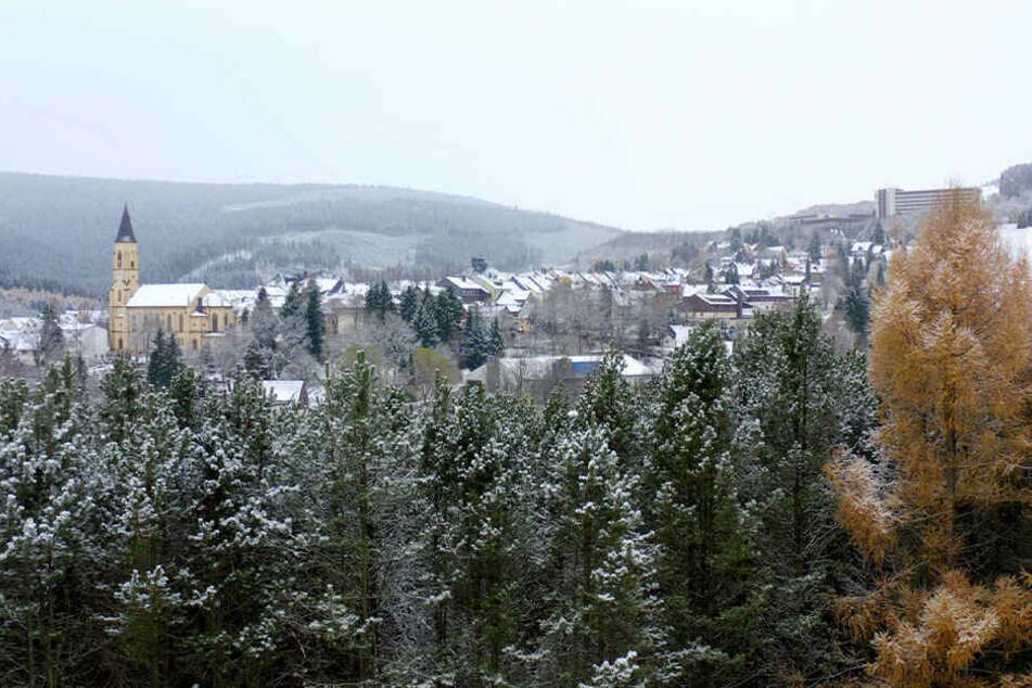 Auch in Oberwiesenthal blieb der Schnee liegen.
