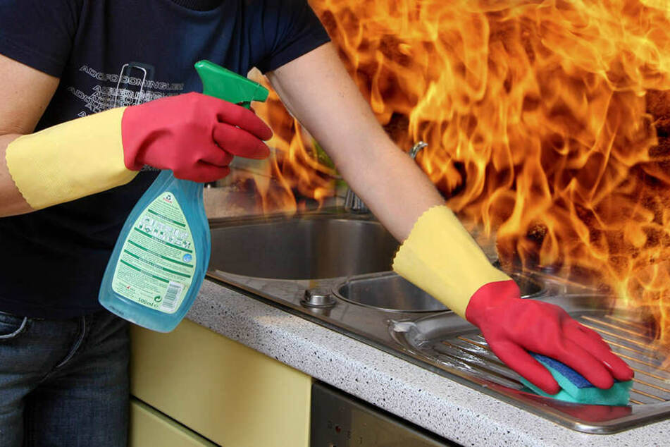 Die Reinigungsaktion der Edelstahlspüle mit Brennspiritus ging äußerst daneben. Der Mann zog sich schwere Verbrennungen zu.