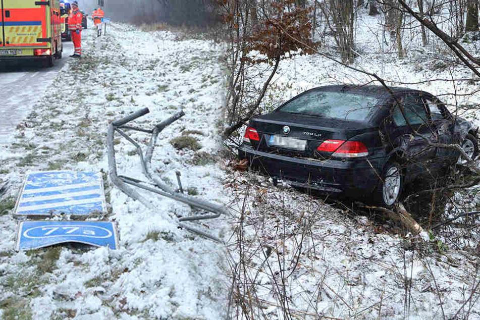 BMW kommt auf A4 ins Schleudern und landet im Straßengraben