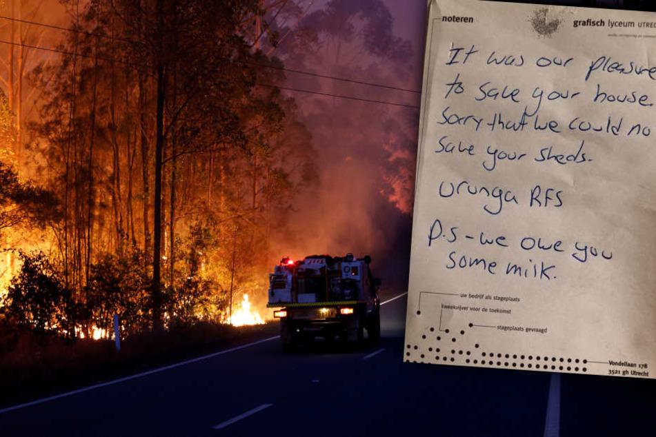 """""""Wir schulden ihnen Milch"""": Feuerwehrleute retten Haus und hinterlassen netten Brief"""