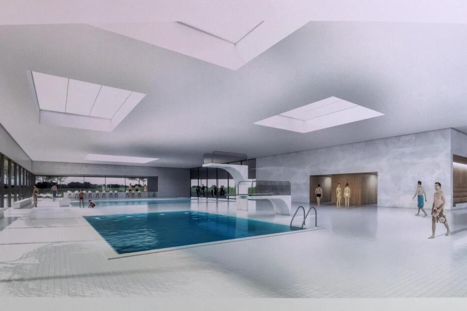 Ein 25-Meter-Becken, ein Lehrschwimmbecken und Sprungtürme hat das neue Bad zu bieten.