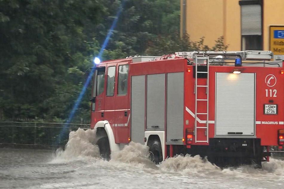 In der Meininger Innenstadt standen zahlreiche Straßen unter Wasser.