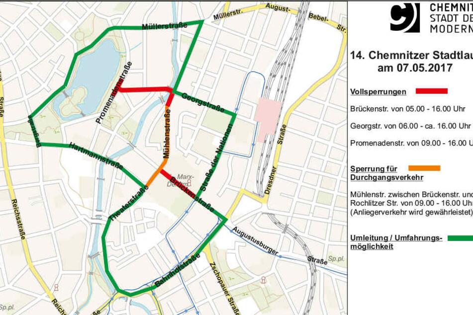 Die roten und orangefarbenen Straßen werden komplett oder zeitweiße gesperrt. Grün markiert sind die empfohlenen Umleitungsstrecken.