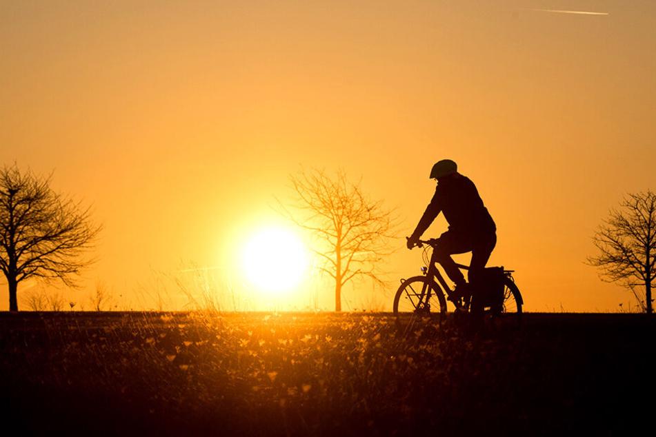 Ein Fahrradfahrer radelt vor einem malerischen HIntergrund.