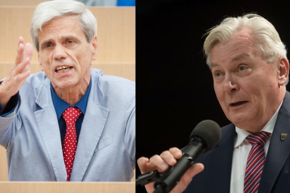 """Fiechtner wirft dem neuen Fraktionschef Bernd Gögel (rechts) eine """"untragbare Nähe"""" zum wegen Antisemitismus-Vorwürfen umstrittenen Wolfgang Gedeon (links) vor."""