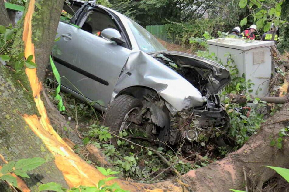 Auto kracht frontal gegen Baum: Fahrer eingeklemmt