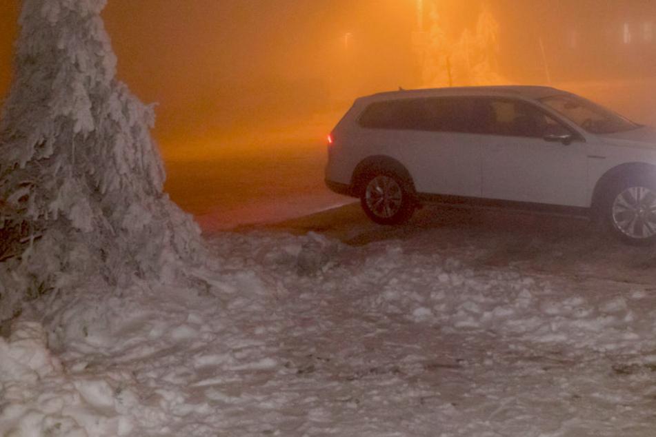 Nebel bei minus 2 Grad Celsius auf dem Fichtelberg.