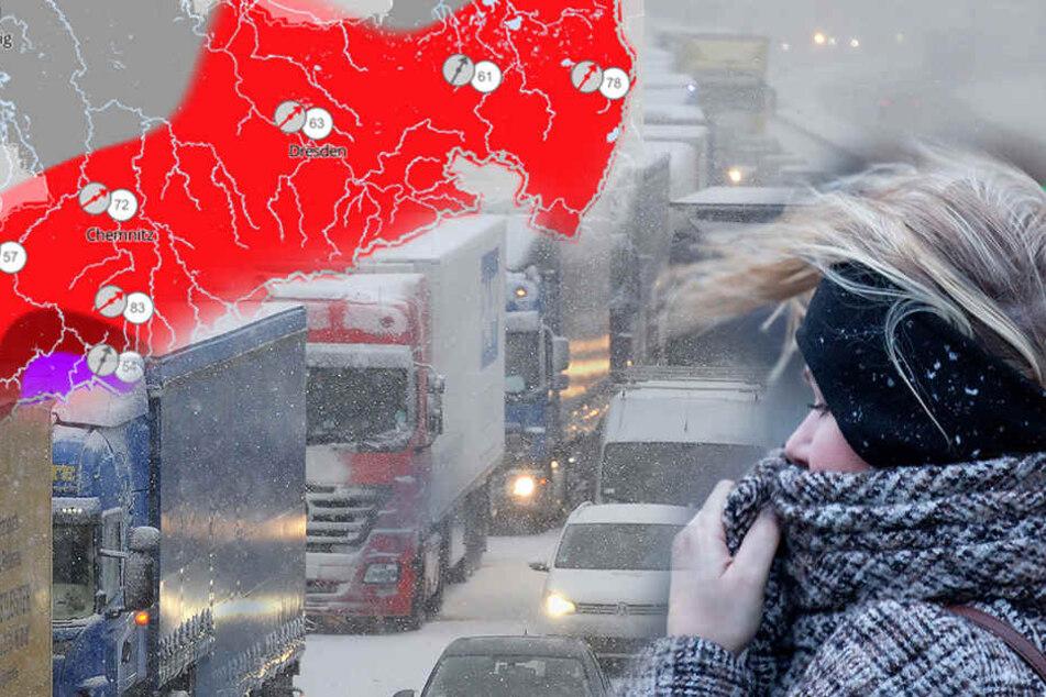 In Sachsen werden Schnee und orkanartige Böen erwartet!