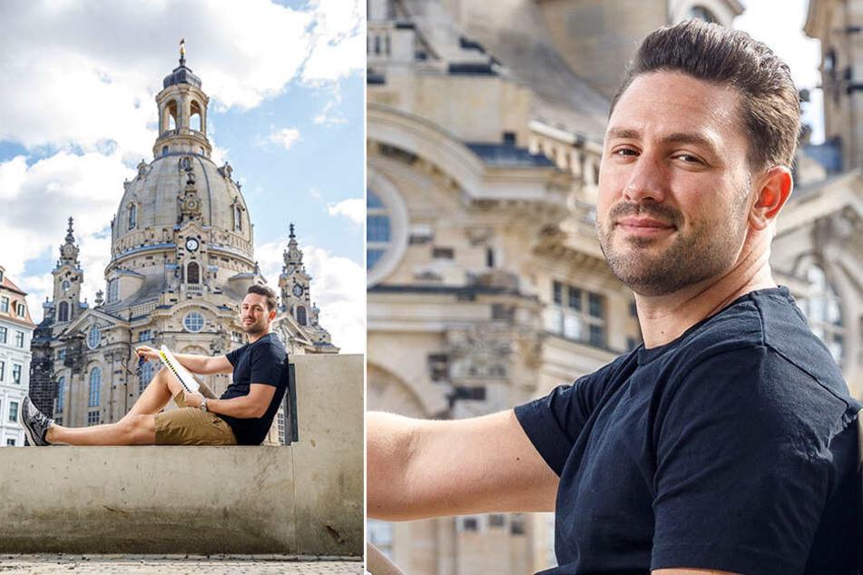 """Daniel Völz (34) probt derzeit für das Stück """"Spielplatzhirsche"""" an der Comödie. Zur Dresdner Frauenkirche hat er eine ganz besondere Verbindung."""