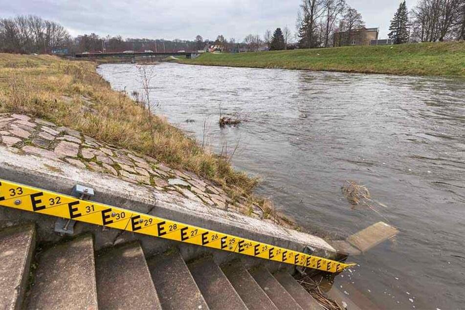 Der Pegel der Mulde in Zwickau-Pölbitz signalisiert: derzeit keine Gefahr. Erst bei 250 Zentimeter Wasserstand wird von Hochwasser gesprochen.