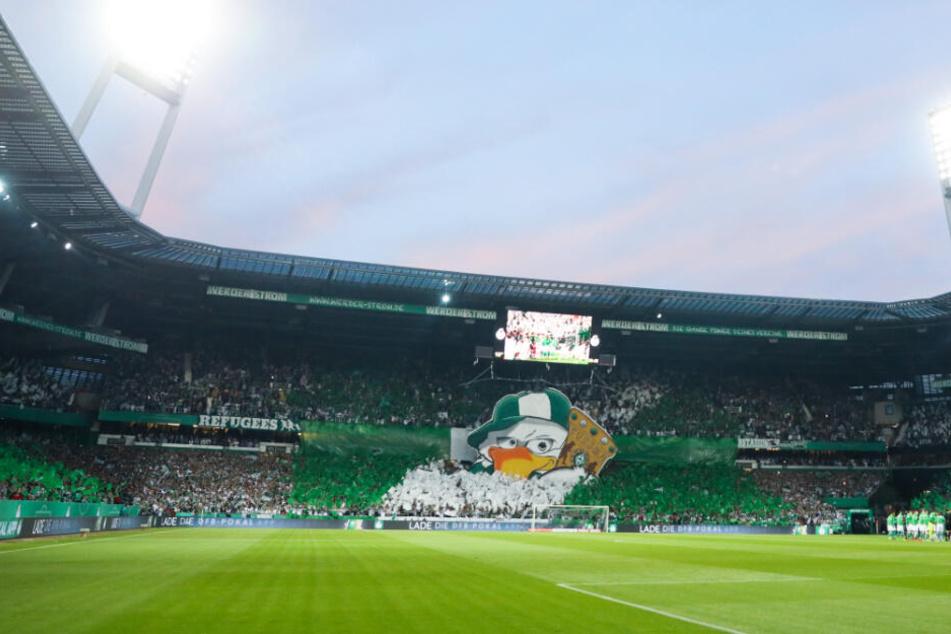 Die Fans von Werder Bremen zeigen vor einem Pokalspiel eine atemberaubende Choreographie.