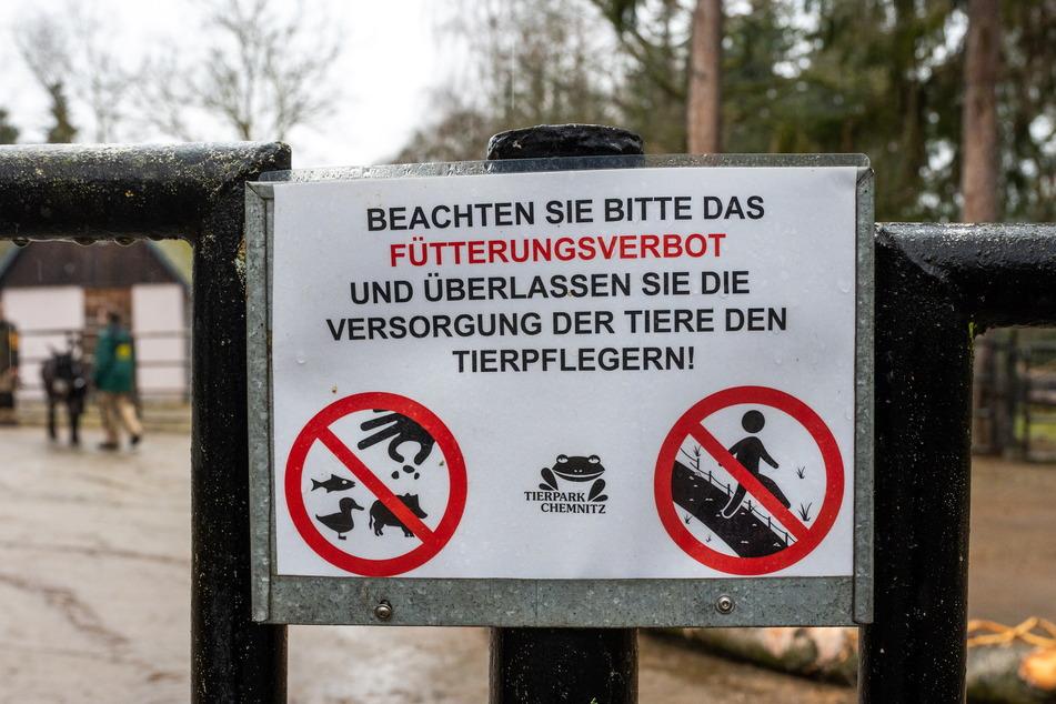 Warnung vor unzulässiger Fütterung: Der Tierpark versucht, die Spaziergänger mit Absperrungen von den Eseln fernzuhalten.