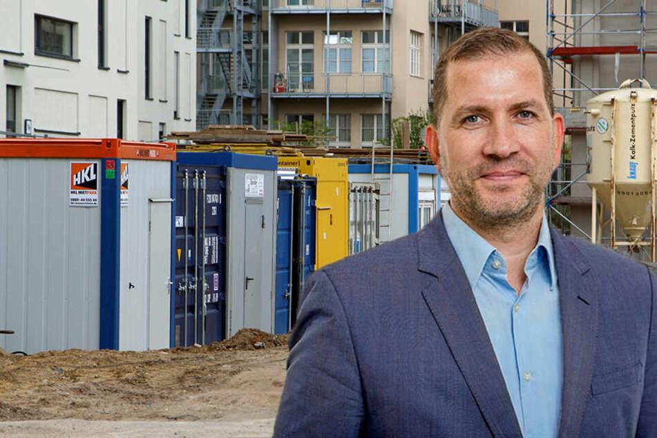 Dr. Robert Momberg (kl. F.) ist Hauptgeschäftsführer des sächsischen Bauindustrieverbandes. Er beklagt Millionenverluste seiner Mitgliedsfirmen durch Diebstahl auf Baustellen und aus Baucontainern (gr. F.).