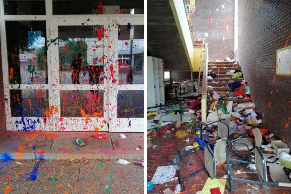 Sowohl die Außenfassade der Schule als auch das Treppenhaus wurden von den Unbekannten beschädigt.