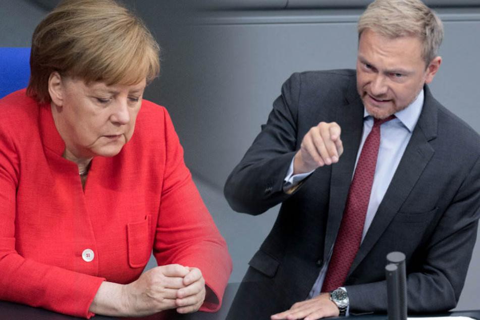 Christian Linder (r) hat die Arbeit von Angela Merkel (l) kritisiert. (Bildmontage)