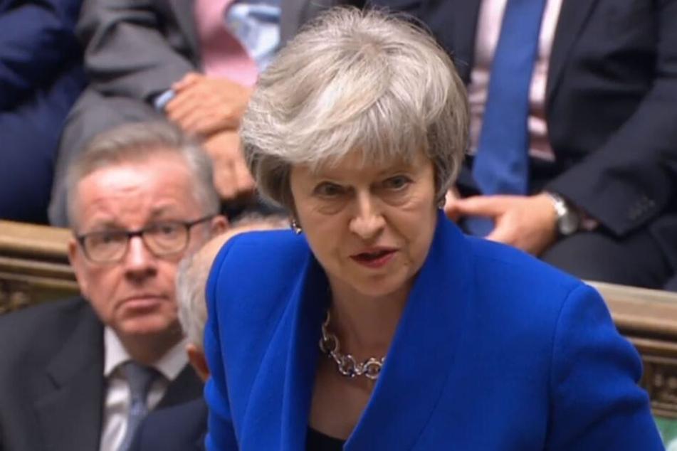 Die britische Premierministerin Theresa May spricht am Mittwoch im Parlament in London.