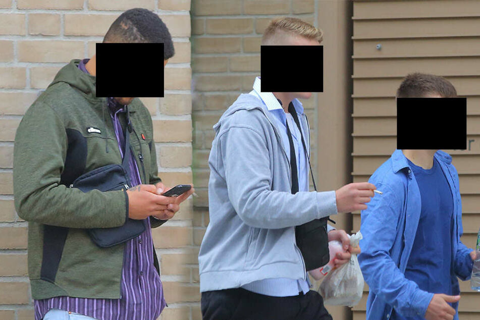 Carl S. (21), Florian K. (20, groß in der Mitte) und Milosz M. (21) wurden am Amtsgericht verurteilt.