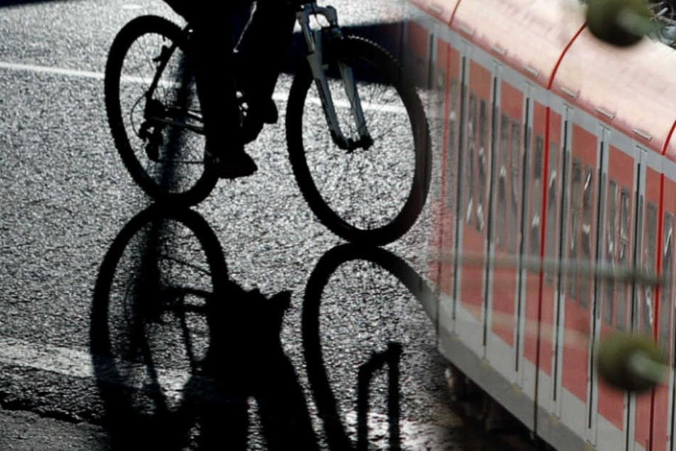 Der 89-jährige Fahrradfahrer wird vom Zug erfasst und ist sofort tot. (Bildmontage)