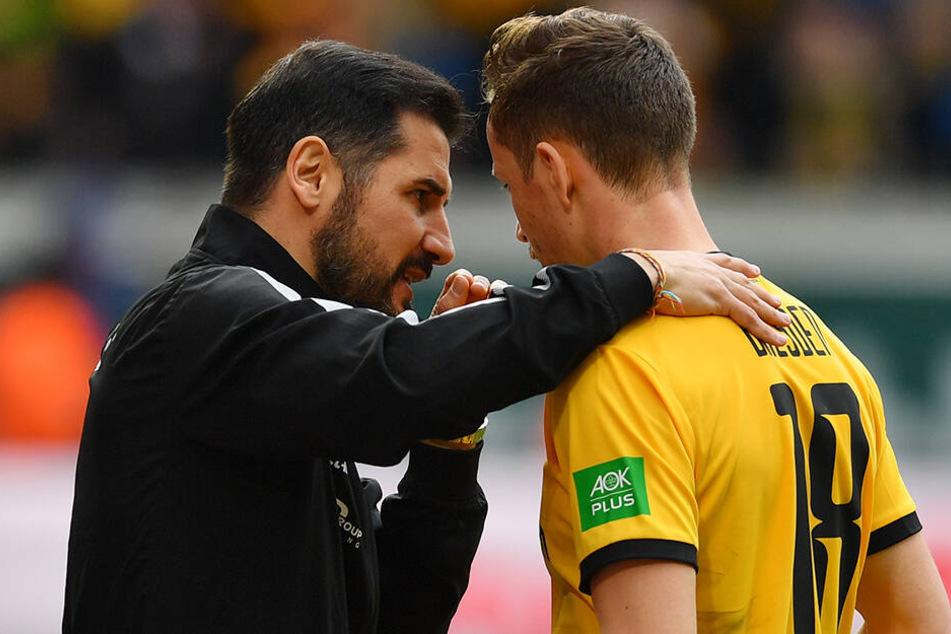 Wieder im intensiven Austausch: Dynamo-Coach Cristian Fiel (l.) mit Verteidiger Jannik Müller.