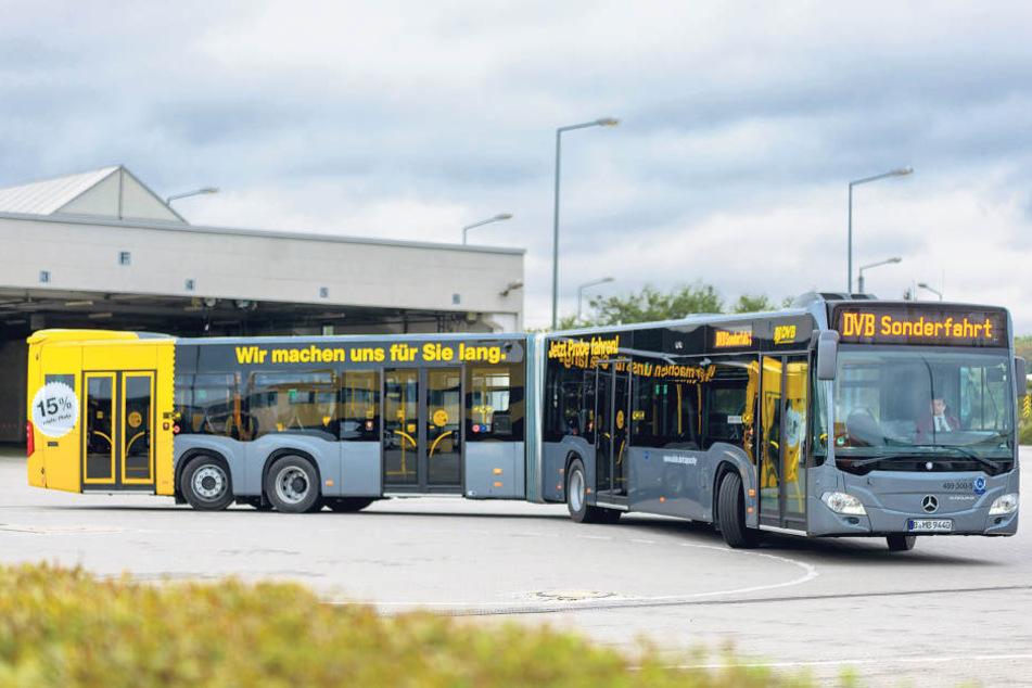 Echt XXL! Dieser neue Bus der Dresdner Verkehrsbetriebe ist 21 Meter  lang!