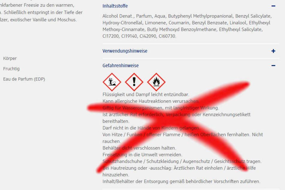 Diese Warnhinweise zum Parfüm gibt es nicht mehr auf der dm-Homepage.