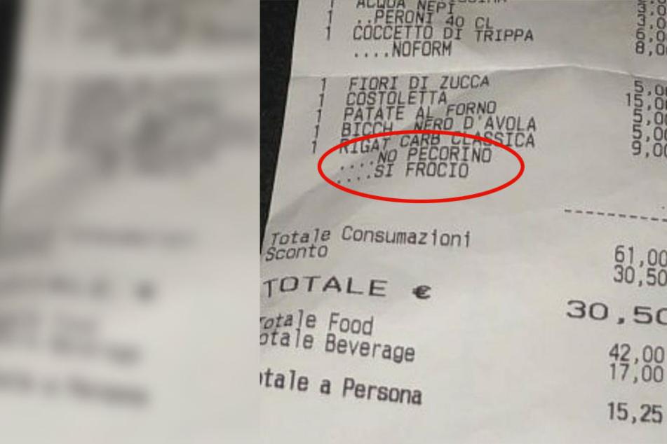 Der Restaurant-Mitarbeiter beleidigte seine schwulen Gäste mit einem abwertenden Kommentar auf dem Kassenzettel.