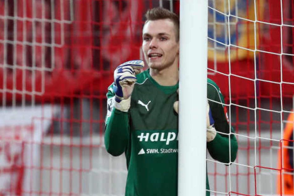 Die Zukunft von Halles Torhüter Tom Müller (20) ist ungewiss. Wahrscheinlich aber, dass der HFC seinen Vertrag demnächst verlängert.