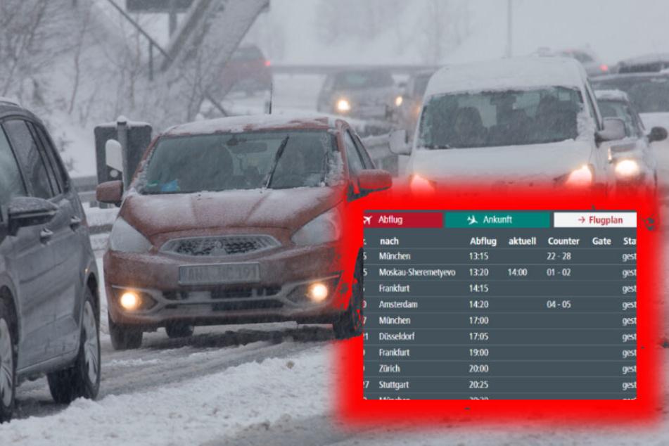 Heftiges Schneetreiben sorgt in weiten Teilen Sachsen für Verkehrschaos.
