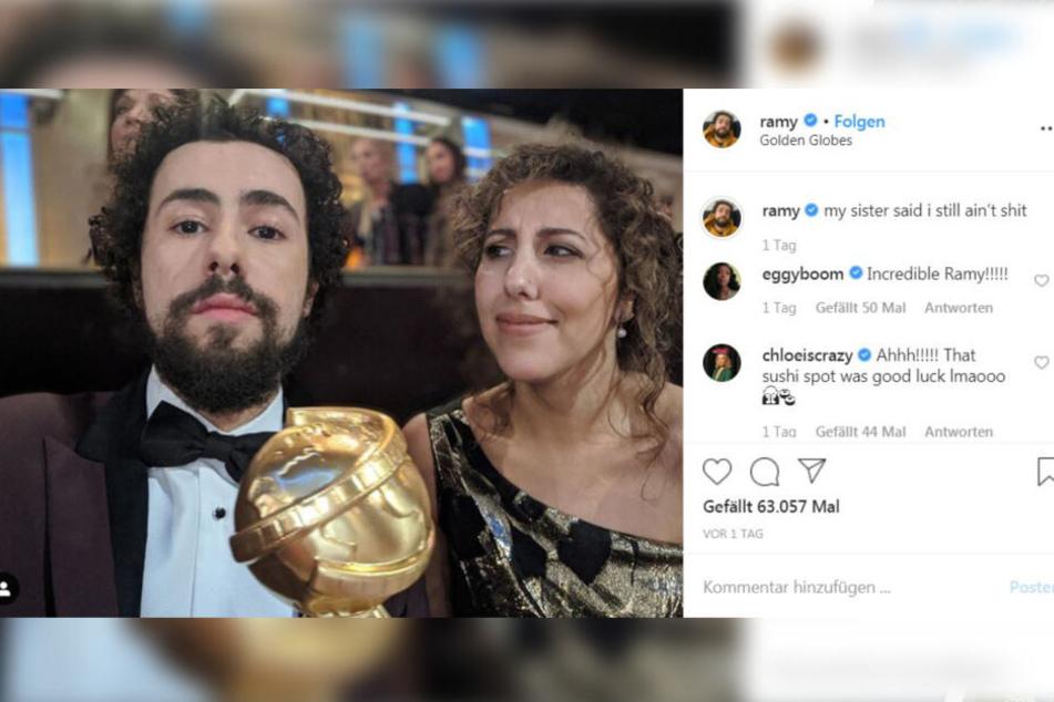 So zeigte sich der Schauspieler Ramy Youssef mit dem Golden Globe und seiner Schwester auf Instagram.