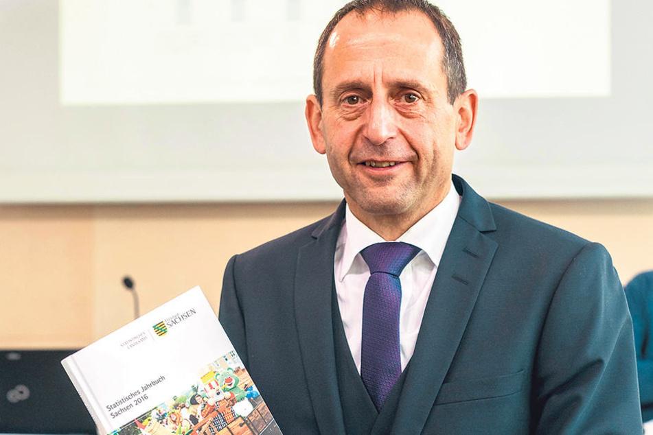 Der Präsidenten des Statistischen Landesamtes, Burkhard Müller stellt das  Statistische Jahrbuch von 2016 vor.