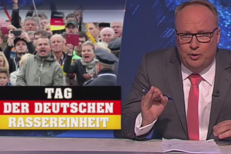 """Das Satire-Magazin nannte die Feierlichkeiten in Dresden den """"Tag der deutschen Rassereinheit""""."""