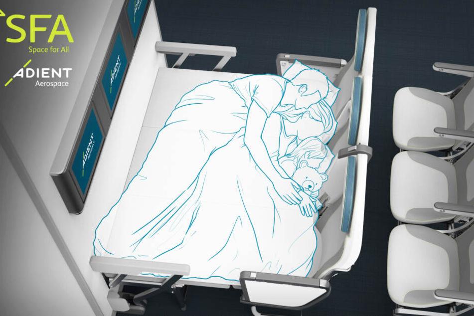 Für Eltern, die mit Kind reisen, könnte es schon bald Sitze geben, die sich zu einem Bett ausklappen lassen.