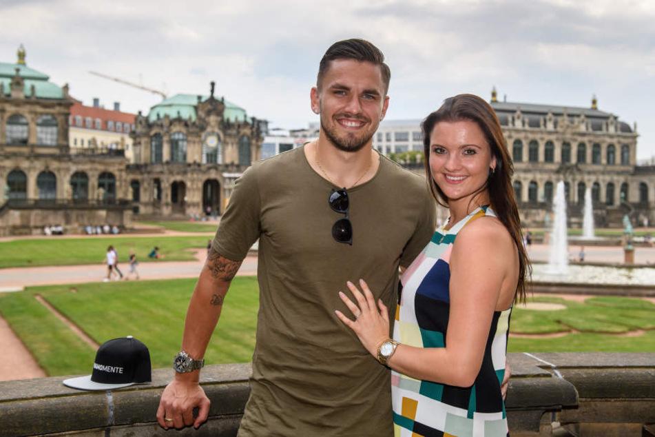 Pascal Testroet mit seiner Frau Michelle beim Mannschaftsausflug am Donnerstag im Zwinger.
