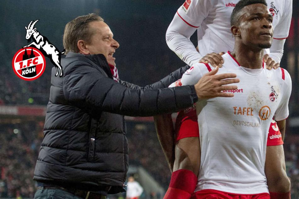 1. FC Köln: Jubellauf von Horst Heldt: Ist es ihm etwa peinlich?